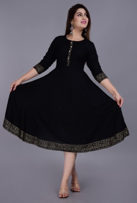 YESLY Women Solid Anarkali Kurta(Black)