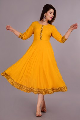 YESLY Women Solid Anarkali Kurta(Yellow)