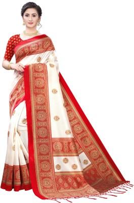 Fabwomen Floral Print, Paisley Mysore Art Silk Saree(Red)