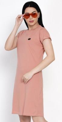 HASHBEAN Solid Women Round Neck Pink T-Shirt