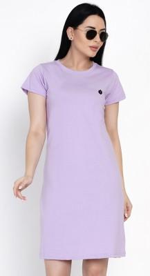 HASHBEAN Solid Women Round Neck Purple T-Shirt