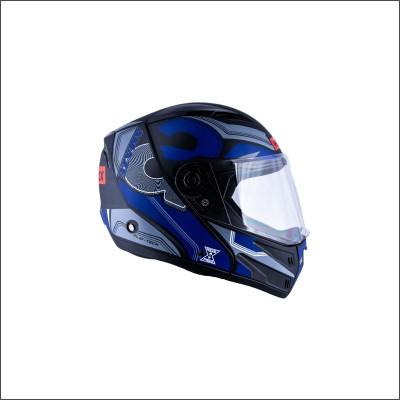 HEADFOX az Bluetooth N1 Motorbike Helmet(Black, Blue)