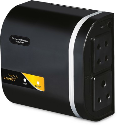 V-Guard Mini Crystal Supreme TV Voltage Stabilizer for 82 cm (32) TV+ Set topbox (Working Range:90-290V; 1.3 A)(Black)