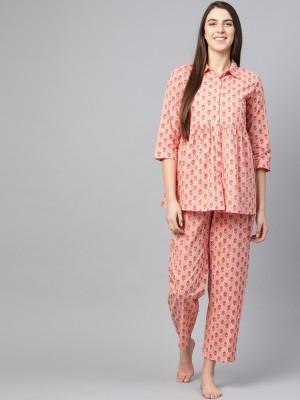 Yash Gallery Women Floral Print Pink Shirt & Pyjama set