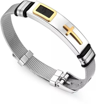 University Trendz Stainless Steel Silver Coated, Gold-plated Bracelet