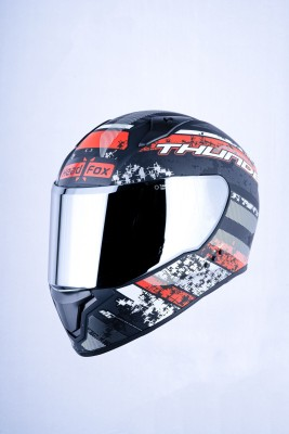 HEADFOX TH Bluetooth H3 RED Motorsports Helmet(Red, Black)