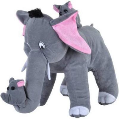 Dteddy Grey mother elephant two baby_36cm, correct size 36cm   36 cm  Grey    36 cm Grey Dteddy Soft Toys