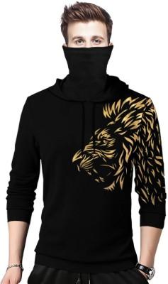 TRIPR Printed Men Hooded Neck Black T-Shirt