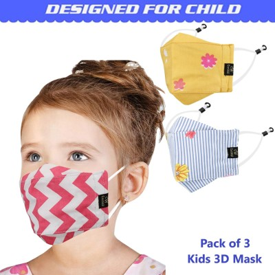 CENWELL 100 % Cotton Kids 3D Face Mask Reusable Washable Breathable Skin...