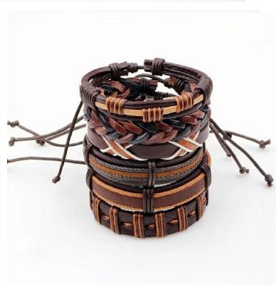University Trendz Leather Bracelet Set(Pack of 6)