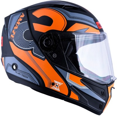 HEADFOX az Bluetooth N1 Motorbike Helmet(Orange, Black, Grey)