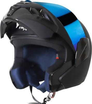 Steelbird TRX Flip Up Helmet, ISI Certified Helmet Motorbike Helmet(Matt Axis Grey with Blue Visor)