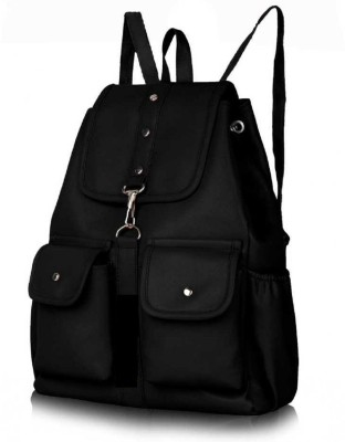EJIS PU LEATHER BACKPACK, 9 L Backpack Black