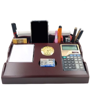 WOODHOUSE 5 Compartments WOODEN PEN STAND ,CALCULATOR ,CLOCK ,NOTPAD(Brown)