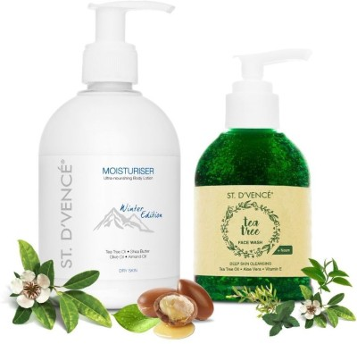 ST. D'VENCÉ Winter Edition Body Lotion for Dry Skin + Australian Essential Tea Tree Oil and Neem Face Wash |...