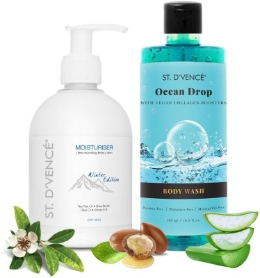 ST. D'VENCÉ Winter Edition Body Lotion for Dry Skin + Utra Refreshing Ocean Drop Body Wash (300ml + 500ml |...