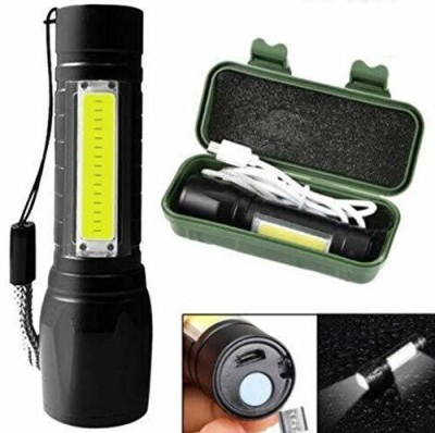 Buy From Best Portable Pocket Size Mini LED Flashlight, USB Rechargeable Zoomable lamp for Camping, Fishing ,Light with 3 Modes...