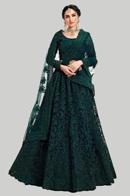 DEIDAD Embroidered Semi Stitched Lehenga Choli(Green)
