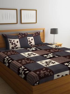 Flipkart SmartBuy 144 TC Microfiber Double Geometric Bedsheet(Pack of 1, Brown)