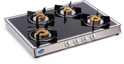 GLEN 1048 GT Forged Burners Mirror finish Glass Manual Gas Stove(4 Burners)