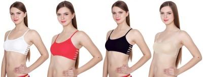 KOISA girls bra free size bra removable padded bra tube bra, six strap bra fancy bra 4n 32 whi red bla sblue Women Full Coverage Lightly Padded Bra(Multicolor)