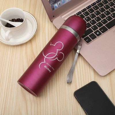 DEVTA Stainless Steel Pink Water Bottle for Boys Girls Gym Workout Office School College 500 ml Bottle(Pack of 0, Pink, Steel)