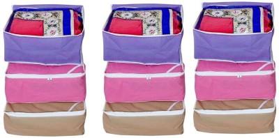 Fashion Bizz Multi Saree Cover 9 Pcs Combo Red, Brown, Purple Fashion Bizz Garment Covers