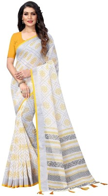 ARRA ENTERPRISE Embroidered Daily Wear Cotton Blend Saree(Yellow)