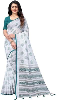 ARRA ENTERPRISE Self Design That Cotton Blend Saree(Green, White)
