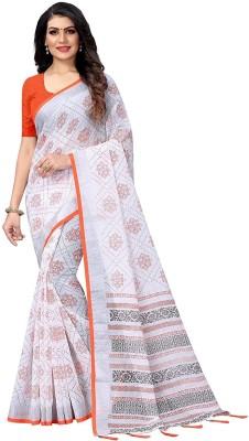 ARRA ENTERPRISE Embroidered Daily Wear Cotton Blend Saree(Orange)