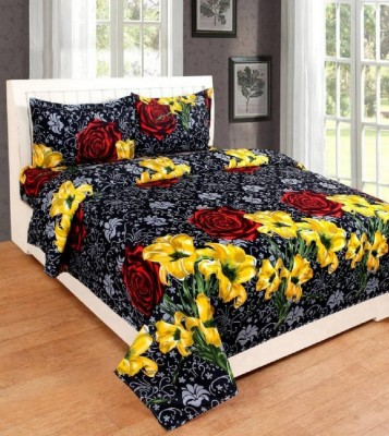 hmm 144 TC Cotton Double Printed Bedsheet(Pack of 1, Black, Yellow)