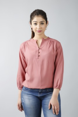 Fab Star Casual 3/4 Sleeve Solid Women Pink Top