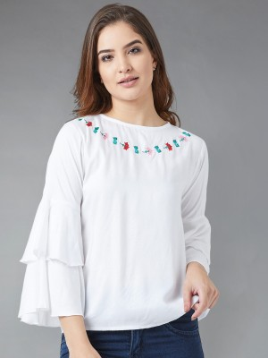THE DRY STATE Casual 3/4 Sleeve Solid Women White Top