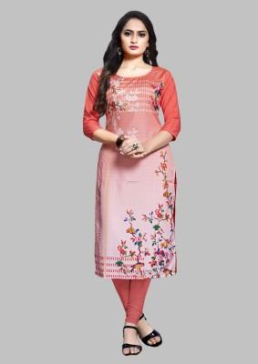 Siya Fashion Women Printed Straight Kurta(Pink)