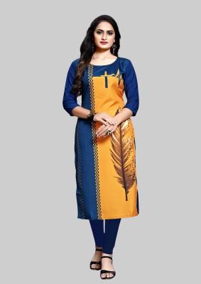 Siya Fashion Women Printed Straight Kurta(Yellow, Blue)