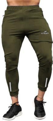 Vitaan Solid Men Olive Track Pants