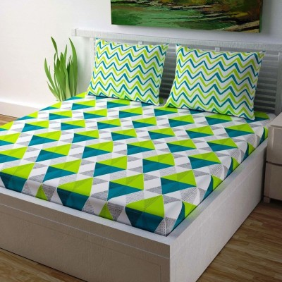 IkBedsheets 165 TC Cotton Double Printed Bedsheet(Pack of 1, Green)