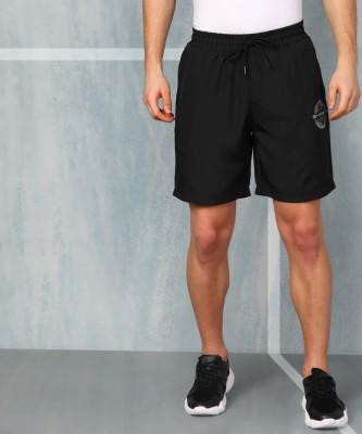 M7 By Metronaut Solid Men Black Sports Shorts