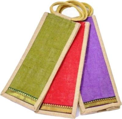 Sheen Jute bag for bottle combo of 3 Multipurpose Bag Multicolor, 2 L Sheen Luggage   Travel