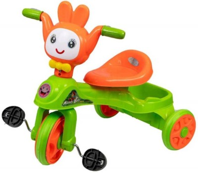 Childhood Cute Cartoon Face Musical Kids Tricycle with Storage Basket Tricycle Green, Orange Childhood Tricycles