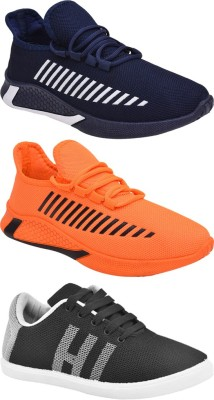 BRUTON Combo Pack Of 3 Running Shoes For Men Multicolor