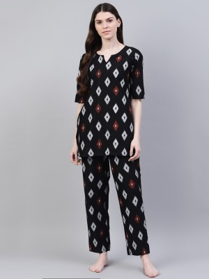 Stylum Women Geometric Print Black, White, Red Night Suit Set