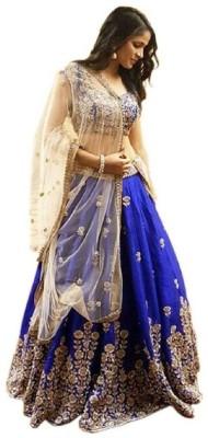 JSItaliya Embroidered Semi Stitched Lehenga Choli(Blue)
