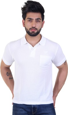 Tip n Top Solid Men Polo Neck White T-Shirt