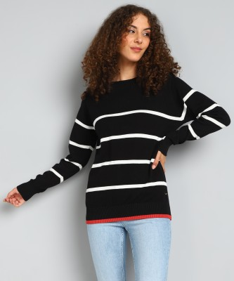 PEOPLE Striped Crew Neck Casual Women Black Sweater