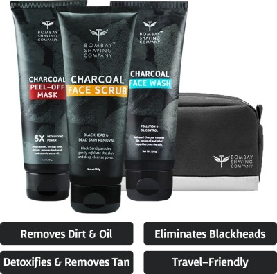 BOMBAY SHAVING COMPANY Charcoal Skin Care Travel Pack with Face Wash, Face Scrub and Peel Off Mask and Travel bag for Dirt removal, Tan reduction and Anti Pollution Effect (100 g x 3)(3 Items in the set)
