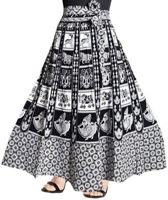 Rangun Printed Women Wrap Around Black, White Skirt