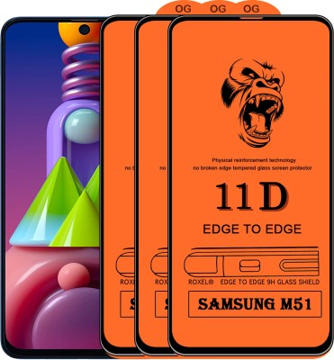 Flyon Edge To Edge Tempered Glass for Samsung Galaxy M51(Pack of 3)
