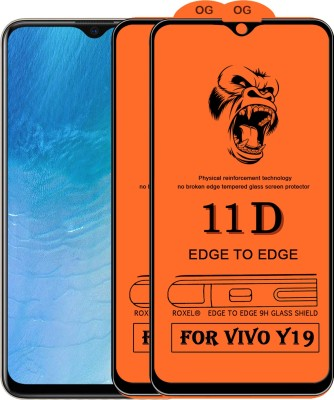 Flyon Edge To Edge Tempered Glass for Vivo Y19(Pack of 2)