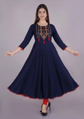 DSV Women Embroidered Anarkali Kurta(Blue)